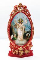 Спаситель (Воскр. Хр..праздн). Икона настольная, овал, виноград, на подст. 11 Х 6 см.