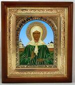 Матрона Московская, икона в деревянной рамке, средняя, арка 20 Х 23