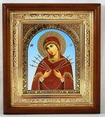 Семистрельная Б.М., икона в деревянной рамке, малая, арка 15 Х 17