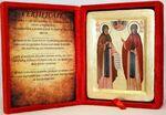 Петр и Феврония, икона Греческая, в бархатном футляре, 13 Х 17
