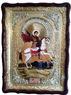 Георгий Победоносец. убивающий змея, в фигурном киоте, с багетом. Храмовая икона 60 Х 80 см.