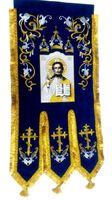 Хоругвь текстиль, бархат, двух-сторонняя вышивка, синяя. Спаситель + Троица