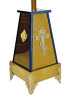 Подставка (тумба) под хоругви, кресты, иконы запрестольные, малая, с литым крестом и херувимами