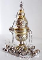 Кадило большое служебное, двух-цветное, греческое, с позвонцами, бронзовое