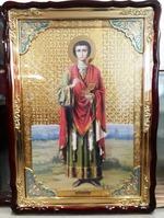 Пантелеймон (рост), в фигурном киоте, с багетом. Храмовая икона (82 Х 114)