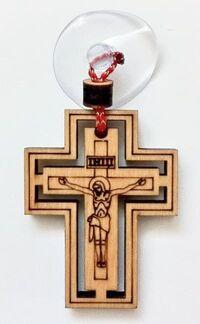 Подвеска автомобильная (114) Крест деревянный на присоске выжженный