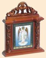 Ангел Хранитель. Икона настольная квадрат на подст., резной киот, 13 Х 10 см.