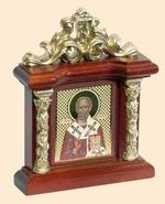 Николай Чудотворец. Икона настольная на подст. малая, с узором 8.5 Х 6,5 см.