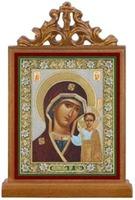Казанская Б.М.. Икона настольная прямоуг. на подст., с узором , 11 Х 7,5 см.