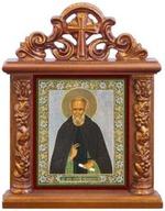 Сергий Радонежский. Икона настольная квадрат на подст., резной киот, 13 Х 10 см.