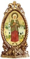 Ксения Петербургская. Икона настольная, овал, виноград, на подст.,  11 Х 6 см.