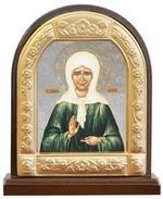 Матрона Московская. Икона настольная арка на подст. средняя, с фигурным багетом 9.5 Х 8 см.