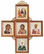 Иконостас домашний в прямом киоте, крест, 5 ликов, Матрона 51,5 Х 40 см.