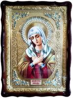 Умиление Б.М., в фигурном киоте, с багетом. Храмовая икона (60 Х 80)